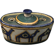 Art Nouveau  Hand enameled Majolica Style French Inkwell Circa 1890