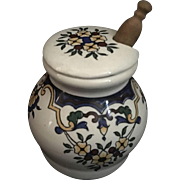 French Mustard Porcelain hand painted Mustard Jar dated 1735