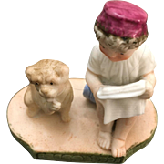 German Bisque miniature Art Deco style Figure Boy Reading to Dog