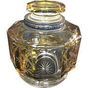 19th Century Bohemian Egermann Glass Cut to Clear Amber Decanter with 800 Silver Band on rim