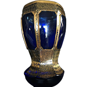 19th Century Bohemian Moser Cobalt Blue Cut to Clear with Gold Rim and Design