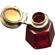 19th Century Ruby Glass fragrance container with 800/1000 Silver cap