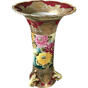 19th Century Nippon Hand Painted Floral Vase