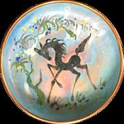 Dutch Mid Century modern Enamel Painted over Copper Sagitta  Bowl