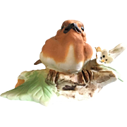 Vintage Italian Capodimonte hand Painted Orange & White  Bird Figurine