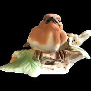Vintage Italian Capodimonte hand Painted Orange & White  Bird Figurine