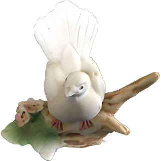 Vintage Italian Capodimonte hand Painted White Dove on a Branch Figurine
