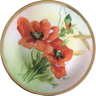 Rare Prussian Beyer &  Bock Artist Signed and hand painted Plate Circa 1860
