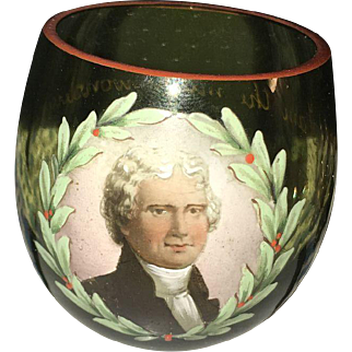 Mid Century American Magic Shot Glass with Hand Painted Magician Portrait