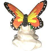 Early 20th Century Bisque Miniature Hand Painted Ornate Butterfly Figurine