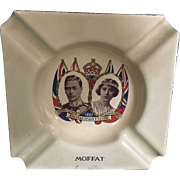 1937 English Royal Coronation King George IV & Queen Elizabeth Blue Enamel Finished Ashtray made by Moffat