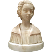 Late  19th Century Carved Italian Marble Sculpture of young Maiden # 1103