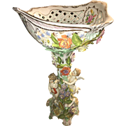 Dresden Masterpiece hand Sculpted and painted Large Fruit Bowl Centerpiece Circa 1903
