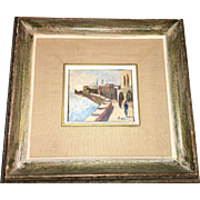 Mid 20th Century Oil Painting on Board Set in canvass Israeli Promenade signed  by artist dated 1967