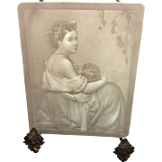 19th Century Victorian Style Bisque Lithophane Tile depicting Mother and Child