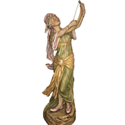19th Century Art Nouveau Czech Royal Dux Figure Maiden playing Harp
