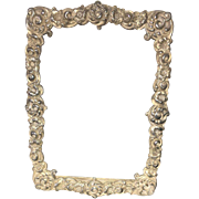 Victorian Style Hand Carved in Floral Design Silver Picture Frame Circa 1905-20