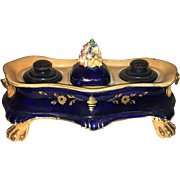 19th Century Old Paris Hand Painted Cobalt Blue Inkwell