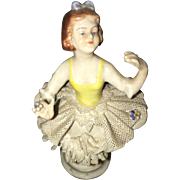 19th Century French St. Amandles Eaux  Hand Painted  Dancer Figurine