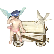 Early 20th Century Art Deco Style  Miniature Figurine Cherub and Dove on a Wagon