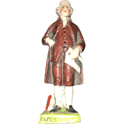 19th Century Hand Painted Sitzendorf Miniature Figurines of Thomas Jefferson and Patrick Henry