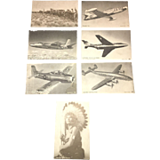 Early 20th Century Americana Ephemera Collectible Air Force Plane Card Set and Native American Set