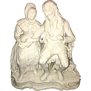 Late 18th Century English Minton Bisque Statue of Continental Couple with Dedication