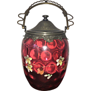 19th Century   Bohemian Cranberry Art Glass  Basket with Hand Painted Design