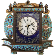 Mid Century Cloisonne and Enamel Bronze Self Winding Mantle Clock