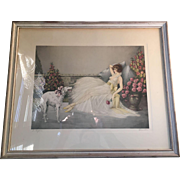 20th Century Art Deco Style French Lithograph In Repose Signed Courcelles