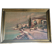 19th Century Italian Scenic Oil on Canvass in wooden frame signed K. Ceccato