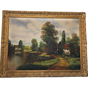 20th Century Oil on Canvass Painting by R.G. Welsch  House by the Lake