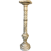 19th Century French Hand Carved Marble Pedestal Stand