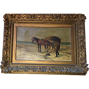 19th  Century Signed French oil on Canvass Painting of Farmer and Horse Plowing  the Field