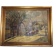 19th Century Oil on Canvass signed American Civil War Union Soldier Leading Horse-drawn Wagon