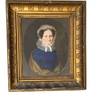 18th Century Colonial America Oil on Board Cameo Portrait of a Lady Unsigned