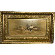 19th Century Signed French Provincial Town Winter Scene Oil on Board