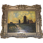 19th Century Signed American Oil on Canvass Dutch Windmill Scene