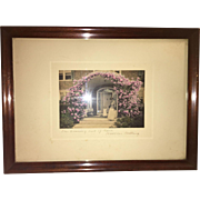 """Early American Victorian Style  Lithograph """"The Coming Out of Rosa"""" by Wallace Nutting"""