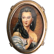 19th Century Austrian cameo and Pendant of  Lady Set in 800/1000 Silver