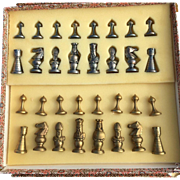 Mid Century Scandinavian Brass and Chrome Complete 32-piece Chess Set without a board