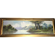 Early 20th Century Art Deco Style Pastoral River-bend Scene