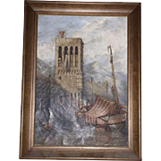 Late 18th Century American Oil on Canvass Painting of Boat Docking by Castle