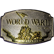 Vintage Silver Tone World War II commemorative Belt Buckle