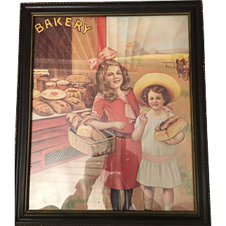 Vintage French Bakery Advertising Lithograph Circa 1915