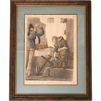 19th Century Parisian lithograph Depicting the plight of a poor couple