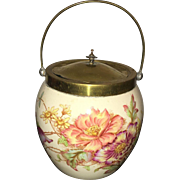 19th Century Hand Painted Floral English Biscuit Jar
