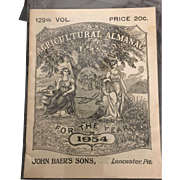 129th Volume John Baer and Sons Agricultural Almanac 1954