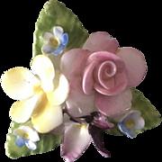 Vintage Mid Century English Coalport  Hand Painted Flower Brooch Pin