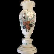 20th Century English Bristol Glass hand painted Flower Vase